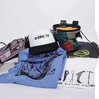 Package 2: T-Shirt EpicTv Man, T-Shirt EpicTv Woman, EpicTv Cap, Mad Rock harness Woman (S), 3rd Rock sweater, E9 chalk bag by EpicTV