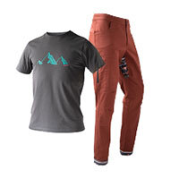 SO SOLID Rock Pants red & Mountain Tee grey by SO SOLID